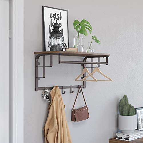 SONGMICS Vintage Coat Rack Shelf Wall Mounted, Coat Hooks Shelf with Hanging Rail, 5 Metal Removable Hooks and Storage Shelf for Entryway Hallway Bedroom Bathroom Living Room ULCR12AX by SONGMICS (Image #2)