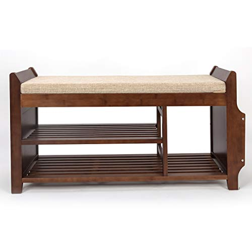 Bocca Shoe Rack Bench, Bamboo Removable Cushion Storage Shelf, 2-Tier Entryway Shoe Storage Organizer with Drawer and Umbrella Stand