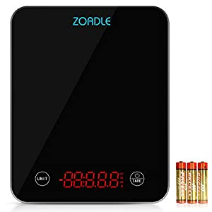 ZOADLE Digital Food Scale Touch Sensitive Kitchen Scale with Bright LED Display, Large Tempered Glass Scale for Cooking, Easy To Clean, 11lb 5kg with Precision Measuring, Batteries Included (Black)