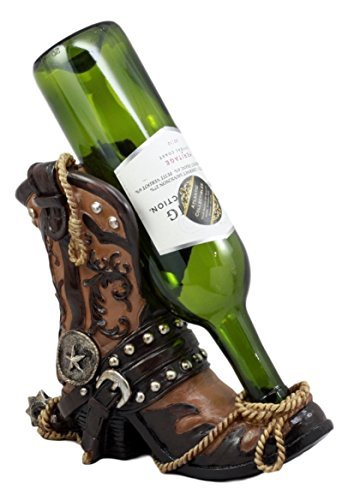 Ebros Gift Western Texas Star Cowboy Boot And Spur Wine Holder 9