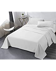 Tigers - Twin or Single Bed Sheet Set - 3 Piece Cotton - Hotel & Tourist Villages - Home Room (White) (White, Single Bed (Youth Room))
