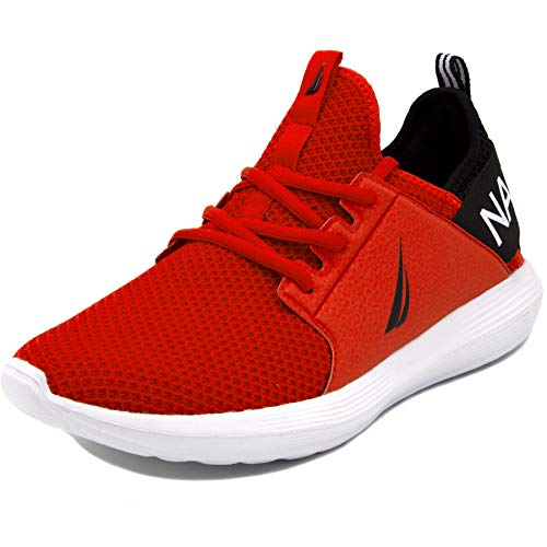 Nautica Men's Casual Fashion Sneakers-Walking Shoes-Lightweight Joggers-Rainey-Red/Black-8