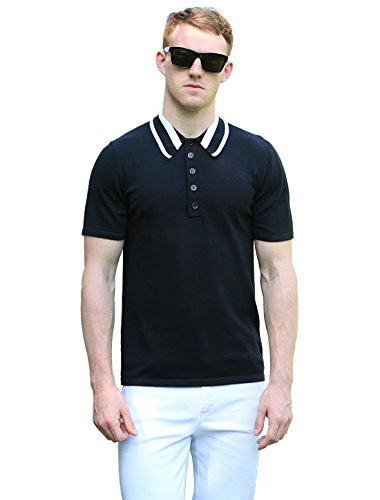 Allegra K Men Color Block Stripes Polo Neck Short Sleeves Sweater
