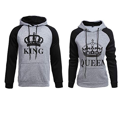 YJQ King Queen Matching Couple Crown Pullover Hoodie Sweatshirts Grey Men 2XL +Women XL by YJQ