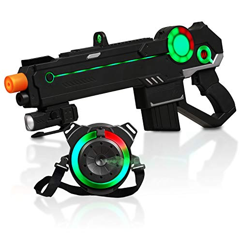 Ranger 1 Laser Tag Reality Gaming Kit with 4 Guns, 4 Vests, 225ft Shooting Range, Unique LED Heads-Up Display, World-First 100% Gun/Vest Synchronization, Smoke-Like Water Vapor Emitter, -