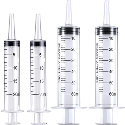 Frienda 4 Pack Large Plastic Syringe for Scientific Labs and Dispensing Multiple Uses Measuring Syringe Tools (20 ml and 60 ml)