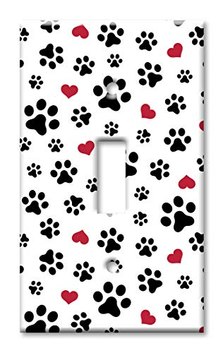 Art Plates 1-Gang Toggle OVERSIZED Switch Plate/OVER SIZE Wall Plate - Dog Paws & Hearts Toss