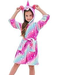 Soft Unicorn Hooded Bathrobe for Girls (Pink Galaxy V2, 6-7 Years)