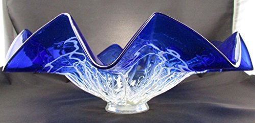 19 Quot Hand Blown Art Glass Table Platter Plate Blue White