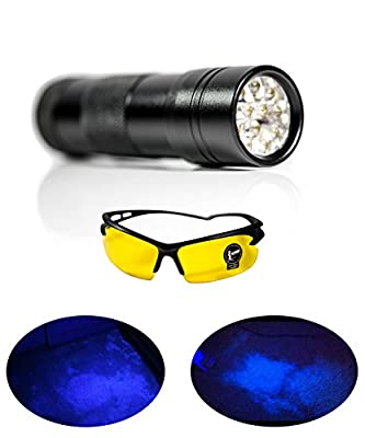 PREMIUM 390nM Ultraviolet LED UV Detector Flashlight & 3x AAA Batteries UV GLASSES Black Light Find Dog, Cat & Other Pet Urine, Dried Up Stains, Carpets, Car Rugs, Sheets, Sofa, Cabinets & More