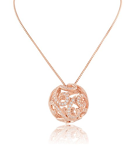 Rose Gold Tone Sterling Silver Cz Filigree Ball Necklace ()