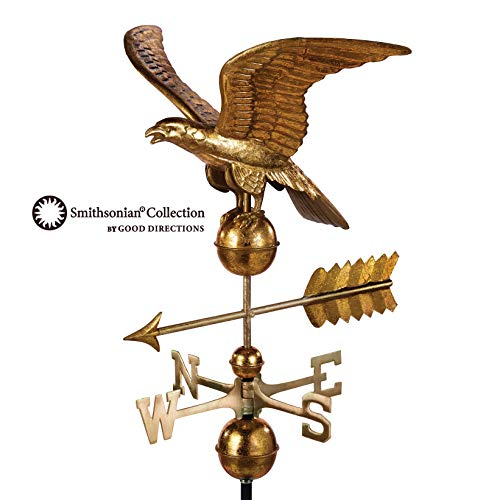 (Good Directions Smithsonian Eagle Weathervane - Pure Copper with Golden Leaf Finish (23 inch),  Rooftop Ornament, Wind Vane, Roof Décor)
