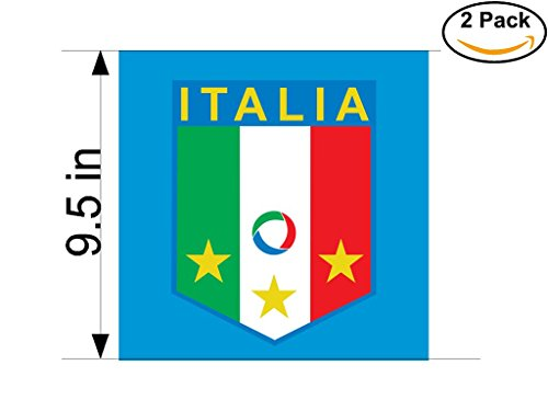 ITALIA Italy Soccer Football Club FC 2 Stickers Car Bumper Window Sticker Decal Huge 9.5 inches by CanvasByLam