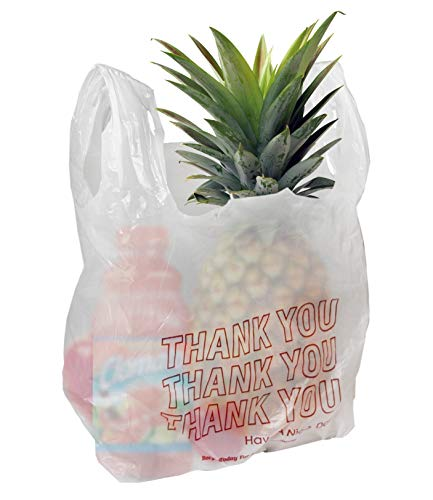 Amiff T-shirt bags 11.5 x 6.5 x 21 Plastic bags 11 1/2 x 6 1/2 x 21. 0.6 mil thick Carry Out T-Shirt Bags. Poly merchandise bags. Wholesale, retail shopping bags. Pack of 100 white grocery bags