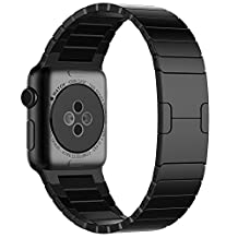 Apple Watch Band Pinhen Series 2 Stainless Steel Link Bracelet Replacement Link Bracelet Strap with Butterfly Closure Band For Apple Watch (42MM Black)