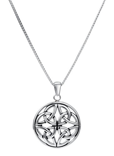 """Celtic Knot Charm Pendant Necklace, Stainless Steel, 18"""" Chain - By Regetta (Celtic Knot Pendant Charm)"""