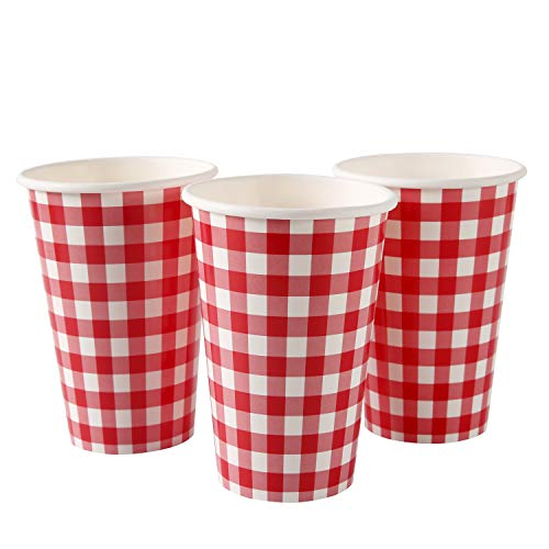 Picnic Themed Disposable Paper Cups 16OZ 30PCS Traditional Gingham Checked Plaid Pattern for Family Dinner Birthday…
