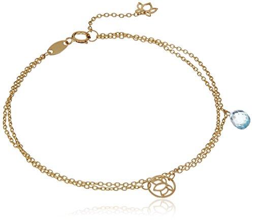 14k Yellow Gold Adjustable Multi-strand Floral with Teardrop Sky Blue Topaz Bracelet, (Topaz Multi Strand Bracelet)