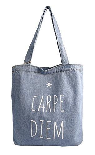 - Peach Couture Denim Reusable Cotton Canvas Zipper Tote Laptop Beach Handbags Womens Mens Shoulder Bags (Carpe Diem Denim)