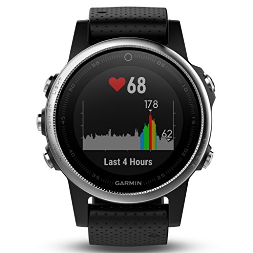 Garmin 42mm Fenix 5S Silver And Black Band GPS Running Watch by Garmin