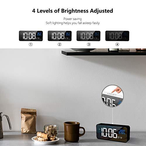 HOMVILLA Sveglia Digitale, Sveglie con Display a LED di Dimensioni, Sveglia a Specchio Portatile con Doppio Allarme, Sveglia Intelligente, Snooze 4 Livelli di Luminosità Regolabile Comodino 13 Music