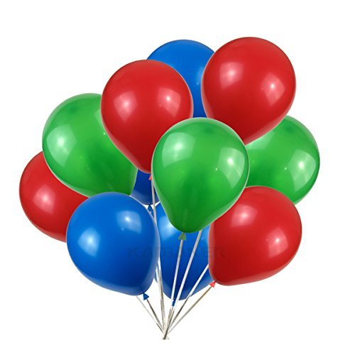 Latex balloons 100 pcs 3 colors party set Green red blue -