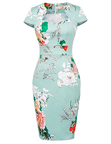 Cute Pin Up Dress Women Knee Length Wiggle Dress M CL7597-18