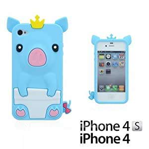 OnlineBestDigital - Piggy Style Soft Silicone Case for Apple iPhone 4S / Apple iPhone 4 - Light Blue