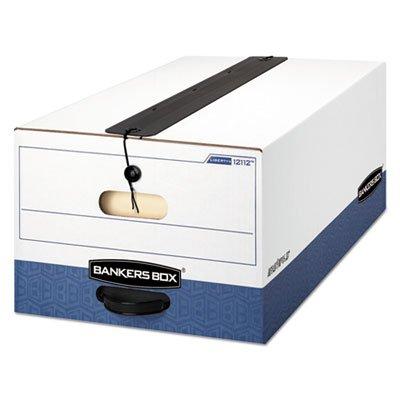 Liberty Plus Storage Box, Legal, String/button, White/blue, 12/carton (Box Liberty Storage Plus)
