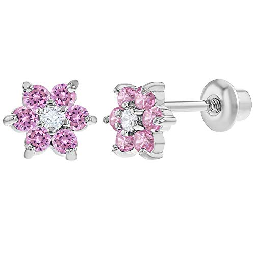Rhodium Plated Pink and Clear Crystal Flower Screw Back Baby Girls Earrings - Plated Crystal Flower