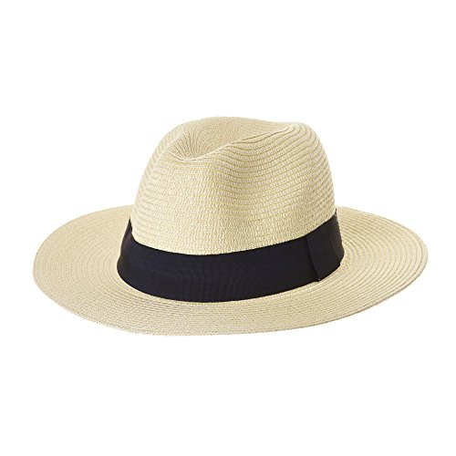 WITHMOONS Fedora Panama Hat Black Banded Wide Brim Cool Summer SL6690 (Ivory)