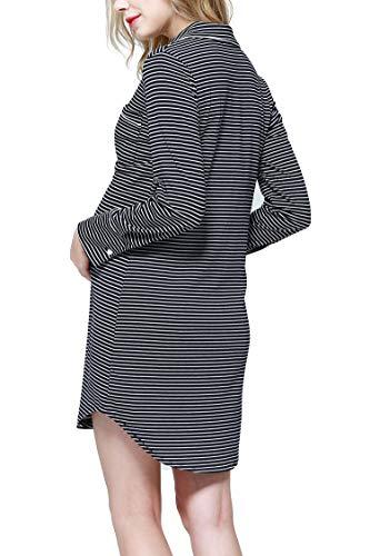 Molliya Vestido de Lactancia Maternidad Premamá Embarazo Lactancia Pijama Verano para Amamantar Solapa de Manga Larga: Amazon.es: Ropa y accesorios