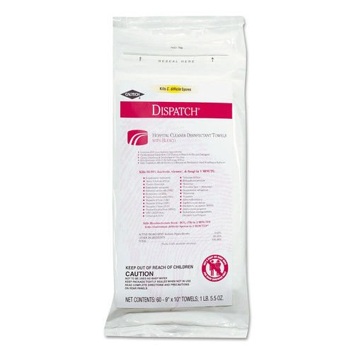 Clorox Healthcare CLO 69260 Dispatch Cleaner Disinfectant Towel with Bleach, 9'' width, 10'' Length, Pack of 720