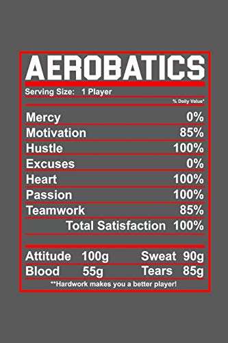 Aerobatics: Notebook | Serving Size: 1 Player Mercy 0% Motivation 85% Hustle 100% Excuses 0% Heart 100% Passion 100% Teamwork 85% Total Satisfaction 100% Attitude 100g Sweat 90g Blood 55g Tears 85g por Aerobatics Publishing