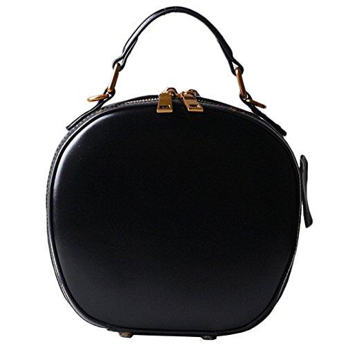 À Brun Shopping Rouge Femmes en Diagonale Ronde Main WKNBEU Black Mode Épaule Sacs Cuir Épaule Noir Rétro qARwWvxCO