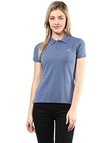 American Crew Women's Polo Collar Solid With Applique T-Shirt (Blue)