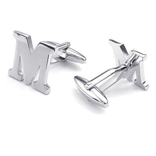 Mens Initial Alphabet Letter Silver White Steel Wedding Formal Business Cufflinks (M)