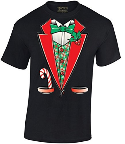 [Awkwardstyles Men's Tuxedo Christmas Costume T-shirt Santa Shirt 5XL Black] (Womens Tuxedo Costumes Tshirt)