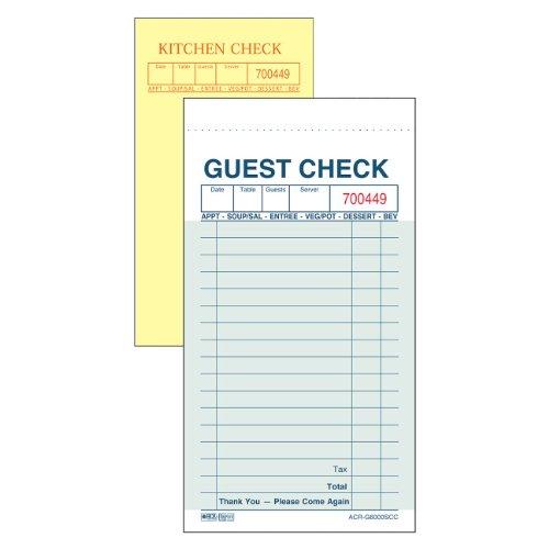 DayMark ACR-G6000SCC Carbon Guest Check, 2 Part, Green, 6-3/4