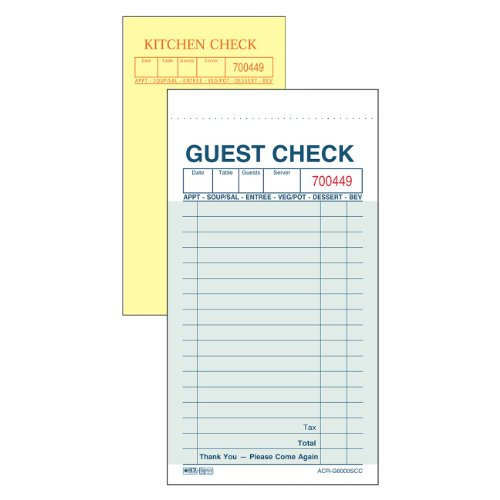 (DayMark Carbon Guest Check, 2 Part, Green (Case of 50 Books, 50 Checks Per Book))