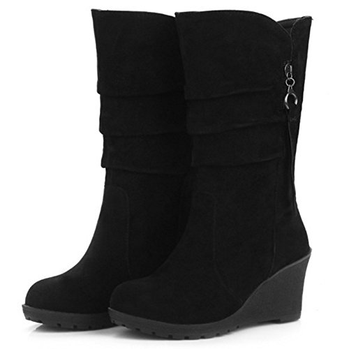 Mid Moda Cuna Calf Botas On Pull de Mujer Tacon Black Coolcept 0g4qZZ