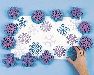 Sellos De Pintura De Espuma Copos de nieve para niños pinturaSellos de Pintura Esponja