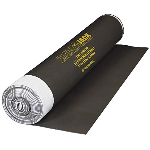 Black Jack 100 sq. ft., 28 ft. x 43 in. x 2.5 mm Roll of 2-in-1 Premium Laminate and Engineered Wood Flooring Underlayment (Renewed)