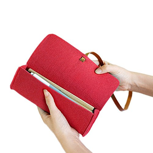 Funnylive Multifunctional Wool Felt Pencil Case Glasses Box Student Stationery Pencil Holder Cosmetic Pouch Bag (Red) - Wool Felt Pouch