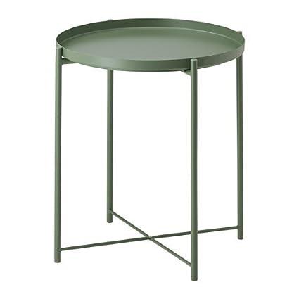 Ikea Runder Tisch Metall.Amazon De Ikea Gladom Tabletttisch In Dunkelgrün 45x53cm