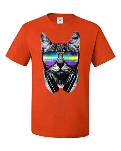 Funny DJ Cat T-Shirt Music Kitten Headphones and Glasses Tee Shirt Orange 4XL ()