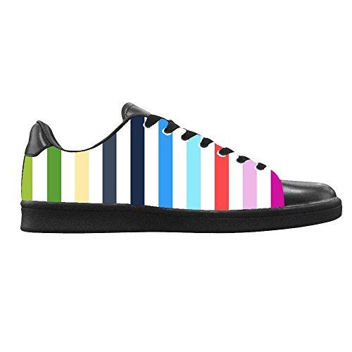 Dalliy Farbstreifen Mens Canvas shoes Schuhe Lace-up High-top Sneakers Segeltuchschuhe Leinwand-Schuh-Turnschuhe B