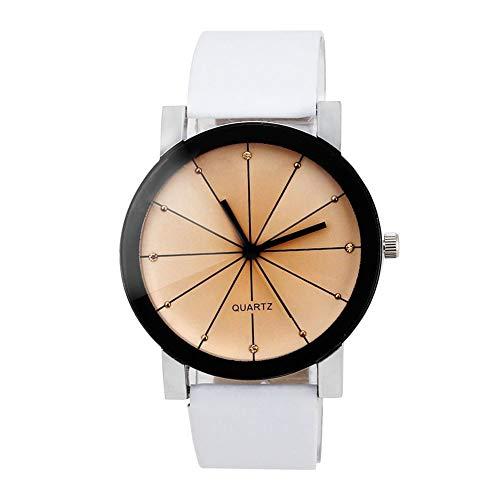 - lightclub Men Women Faux Leather Band Wristwatch Round Pointer Quartz Watch Lovers Clock for Women Men White Woman