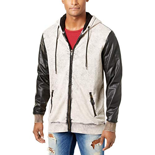 Guess Mens Fall Faux Leather Moto Coat Black-Ivory ()