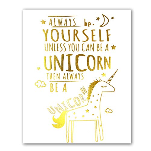 - Unicorn Inspirational Quotes Art Prints (Real Gold Foil)   Posters for Girls Bedroom Decor   Art Prints Teen Room Decorations   8x10 Unframed